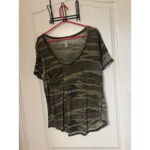 Distressed camo t shirt